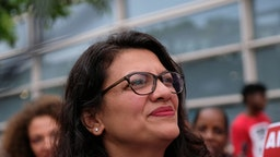 Representative Rashida Tlaib, a Democrat from Michigan, attends a rally with striking airline food workers at Reagan National Airport in Arlington, Virginia, U.S., on Tuesday, July 23, 2019.