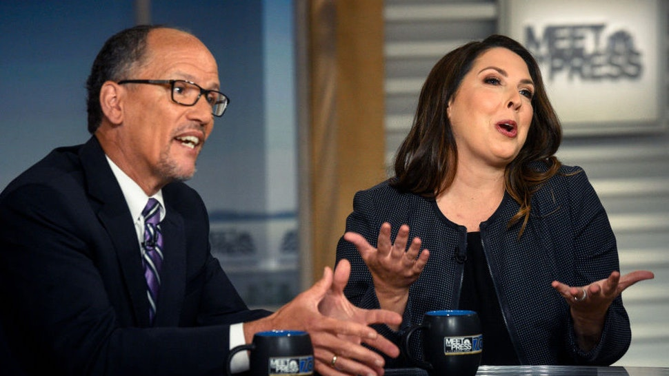 """DNC Chair Tom Perez and RNC Chair Ronna McDaniel appear on """"Meet the Press"""" in Washington, D.C., Sunday, July 9, 2017."""