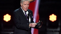 """Jeopardy!"" host Alex Trebek presents the Hart Memorial Trophy during the 2019 NHL Awards at the Mandalay Bay Events Center on June 19, 2019 in Las Vegas, Nevada."