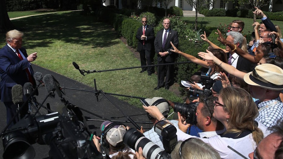 WASHINGTON, DC - AUGUST 21: U.S. President Donald Trump speaks to the media before departing from the White House on August 21, 2019 in Washington, DC. President Trump spoke on several topics including the U.S. economy and why he canceled his trip to Denmark.