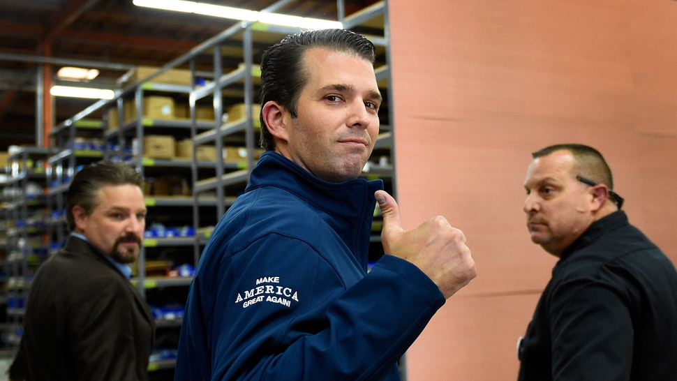 LAS VEGAS, NV - NOVEMBER 03: Donald Trump Jr. gives a thumbs-up after a get-out-the-vote rally for his father, Republican presidential nominee Donald Trump, at Ahern Manufacturing on November 3, 2016 in Las Vegas, Nevada. Trump Jr. urged people to vote for his father during early voting, which ends on November 4 in the battleground state, and on Election Day November 8.