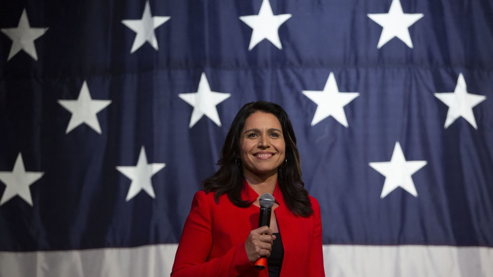 Tulsi Gabbard, a Democrat from Hawaii and 2020 presidential candidate, speaks during the Democratic Wing Ding event in Clear Lake, Iowa