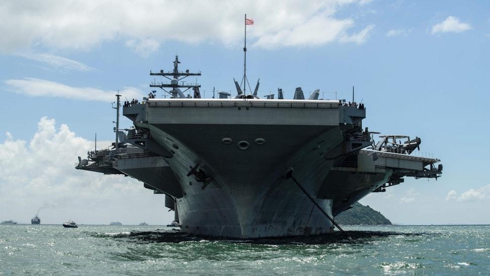 The USS Ronald Reagan (CVN-76) aircraft carrier is seen during a port visit in Hong Kong on October 2, 2017.