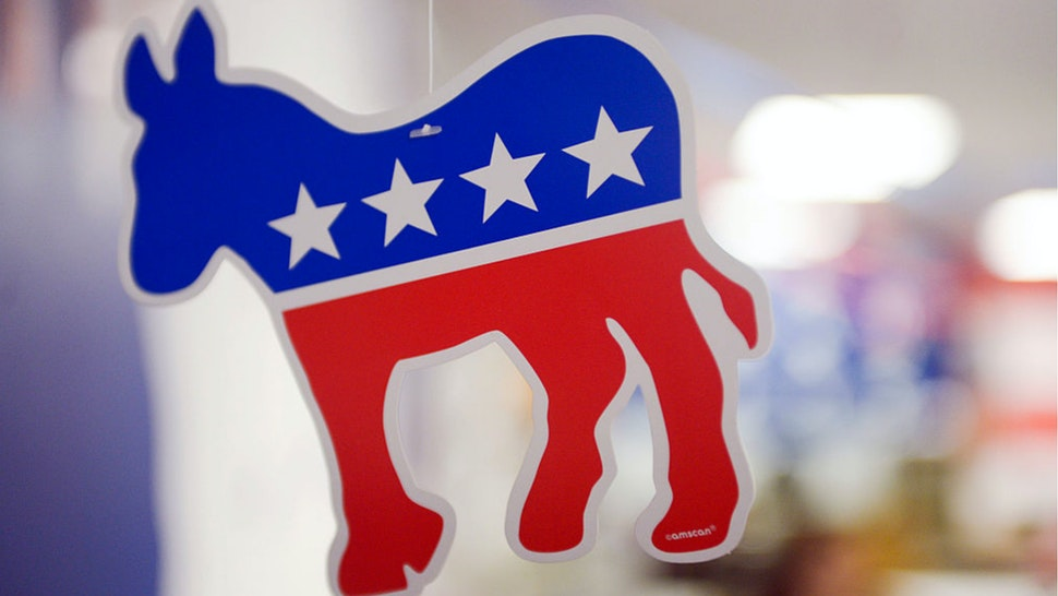 A paper donkey, the animal symbol of the Democratic party, hangs from the ceiling at the Virginia Victory Coordinated Campaign Field Office on October 8, 2016 in Arlington, Virginia.