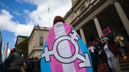 L.G.B.T. activists and their supporters rally in support of transgender people on the steps of New York City Hall, October 24, 2018 in New York City.