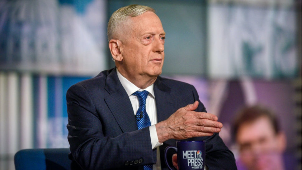 "Former Defense Secretary Gen. James Mattis appears on a pre tape Meet the Press"" in Washington, D.C., Saturday, October 12, 2019."