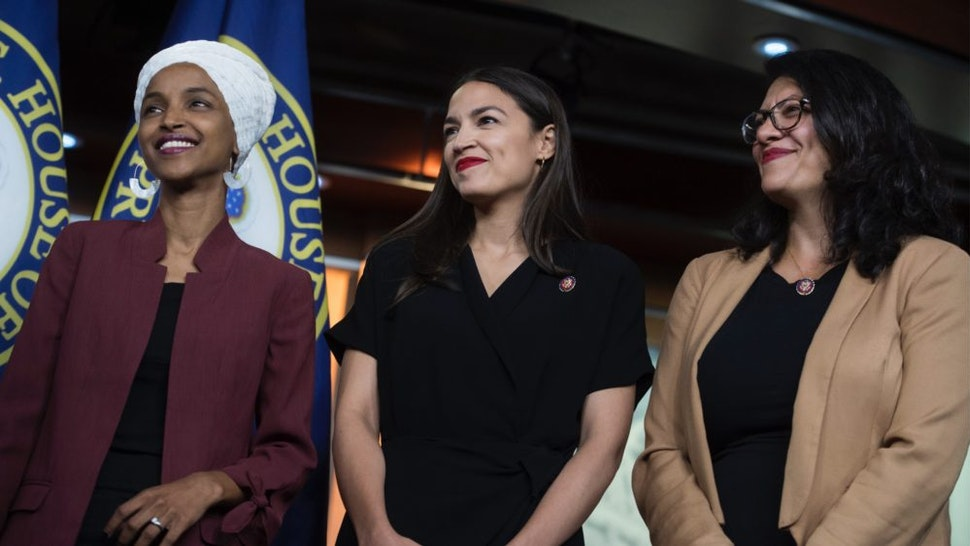 From left, Reps. Ilhan Omar, D-Minn., Alexandria Ocasio-Cortez, D-N.Y., and Rashida Tlaib, D-Mich., conduct a news conference in the Capitol Visitor Center responding to negative comments by President Trump that were directed at the freshmen House Democrats on Monday, July 15, 2019.