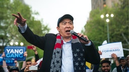 Democratic presidential candidate Andrew Yang speaks during a rally in Washington Square Park, May 14, 2019 in New York City.