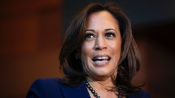 Sen. Kamala Harris (D-CA) speaks to reporters after announcing her candidacy for President of the United States, at Howard University, her alma mater, on January 21, 2019 in Washington, DC.