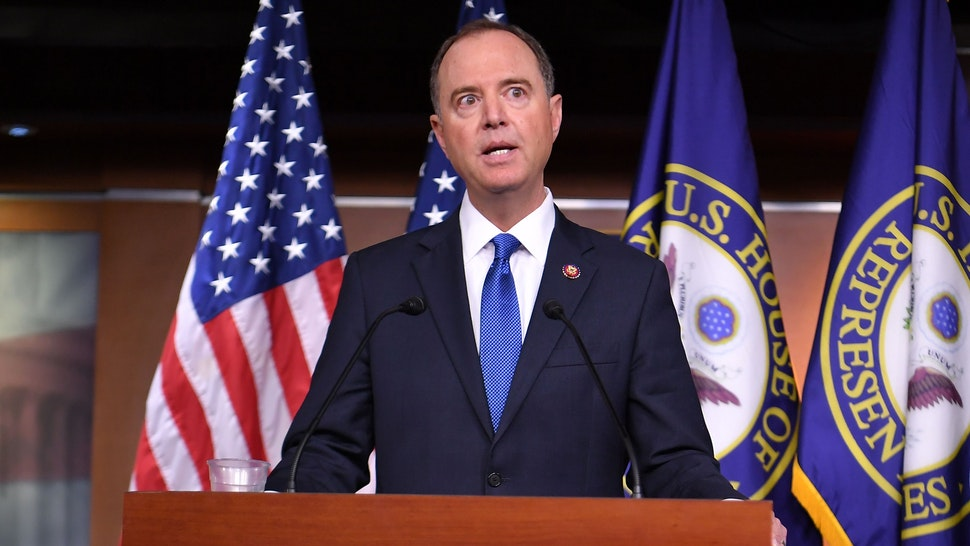 House Speaker Nancy Pelosi and House Intelligence Committee Chair Adam Schiff, D-CA, speak during a press conference in the House Studio of the US Capitol in Washington, DC on October 2, 2019.