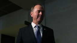 House Intelligence Committee Chairman Adam Schiff (D-CA) speaks to the media after attending a closed door meeting where former US Special Envoy for Ukraine Kurt Volker was being interviewed at the U.S. Capitol October 03, 2019 in Washington, DC. Volker is the first official to testify on the whistleblowers charges that President Donald Trump tried to pressure Ukraine to investigate his Democratic rival Joe Biden. (Photo by Mark Wilson/Getty Images)