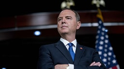 Representative Adam Schiff, a Democrat from California and chairman of the House Intelligence Committee, listens during a news conference on Capitol Hill in Washington, D.C., U.S., on Wednesday, Oct. 2, 2019. Three House committee chairmen threatened on Wednesday to subpoena the White House if it fails to adhere by Friday to document requests related to allegations that President Donald Trump pressured Ukraine into investigating one of his leading political rivals. Photographer: Andrew Harrer/Bloomberg