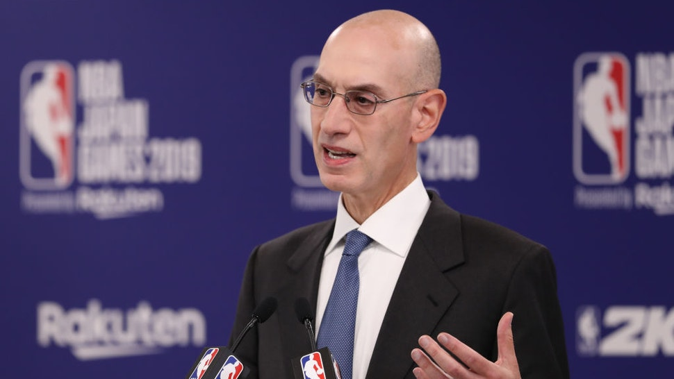 Commissioner of the National Basketball Association (NBA) Adam Silver speaks during a press conference prior to the preseason game between Houston Rockets and Toronto Raptors at Saitama Super Arena on October 08, 2019 in Saitama, Japan. (Photo by Takashi Aoyama/Getty Images)