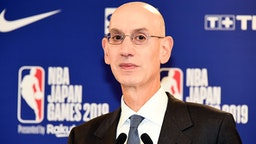 SAITAMA, JAPAN - OCTOBER 08: NBA commissioner Adam Silver attends the pre-game press conference at Saitama Super Arena on October 8, 2019 in Saitama, Japan.