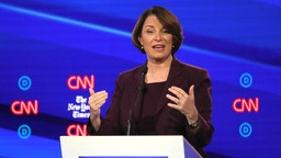 Amy Klobuchar (D-MN) speaks during the Democratic Presidential Debate at Otterbein University