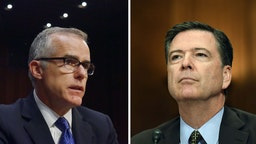 Andrew McCabe, left, and James Comey. (Photos by Jahi Chikwendiu/The Washington Post via Getty Images; Matt McClain/The Washington Post via Getty Images)
