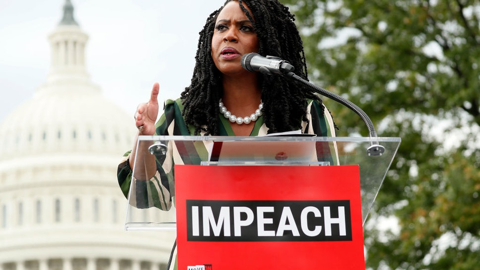 """Rep. Ayanna Pressley (D-MA) speaks at the """"Impeachment Now!"""" rally"""