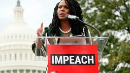 "Rep. Ayanna Pressley (D-MA) speaks at the ""Impeachment Now!"" rally"