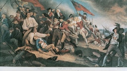 Battle of Bunker Hill on June 17, 1775, United States of America, American Revolutionary War, coloured engraving from a painting by John Trumbull.