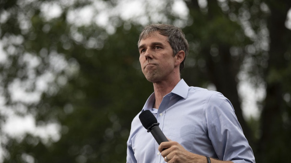 Beto O'Rourke pauses while speaking at the Polk County Steak Fry in Des Moines, Iowa,