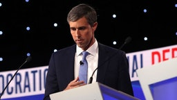 WESTERVILLE, OHIO - OCTOBER 15: Former Texas congressman Beto O'Rourke looks down during a break at the Democratic Presidential Debate at Otterbein University on October 15, 2019 in Westerville, Ohio. A record 12 presidential hopefuls are participating in the debate hosted by CNN and The New York Times. (