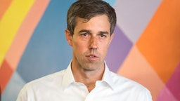 Beto O'Rourke speaks during a campaign stop at a cafe on April 19, 2019