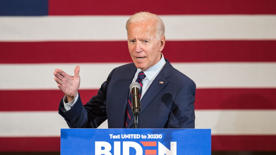 Democratic presidential candidate, former Vice President Joe Biden speaks during a campaign event on October 9, 2019 in Manchester, New Hampshire. For the first time, Biden has publicly called for President Trump to be impeached.