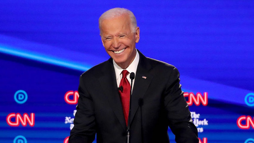 WESTERVILLE, OHIO - OCTOBER 15: Former Vice President Joe Biden smiles during the Democratic Presidential Debate at Otterbein University on October 15, 2019 in Westerville, Ohio. A record 12 presidential hopefuls are participating in the debate hosted by CNN and The New York Times.