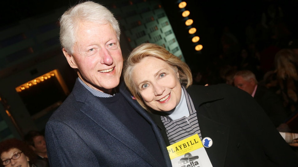 "42nd President of the United States Bill Clinton and 67th United States secretary of state Hillary Rodham Clinton pose at the opening night of the new Manhattan Theatre Club play ""Bella Bella"" at MTC Stage 1 Theatre at City Center on October 22, 2019 in New York City. (Photo by Bruce Glikas/Getty Images)"