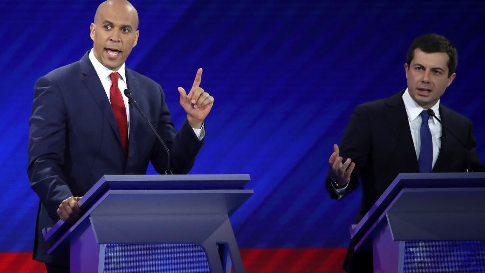 Democratic presidential candidates Sen. Cory Booker and South Bend, Indiana Mayor Pete Buttigieg