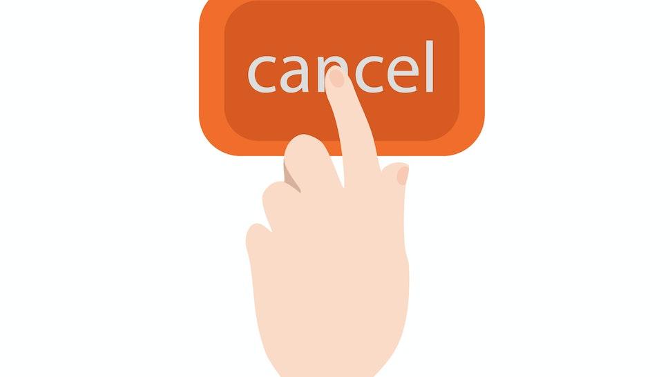 Hand pressing cancel button
