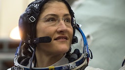 NASA astronaut Christina Hammock Koch, a member of the International Space Station (ISS) expedition 59/60, attends her final exam at the Gagarin Cosmonauts' Training Centre in Star City outside Moscow on February 20, 2019. - NASA astronauts Christina Hammock Koch and Nick Hague and Russian cosmonaut Alexey Ovchinin are preparing for the launch onboard the Soyuz MS-12 spacecraft from the Russian-leased Kazakh Baikonur cosmodrome on March 14, 2019.