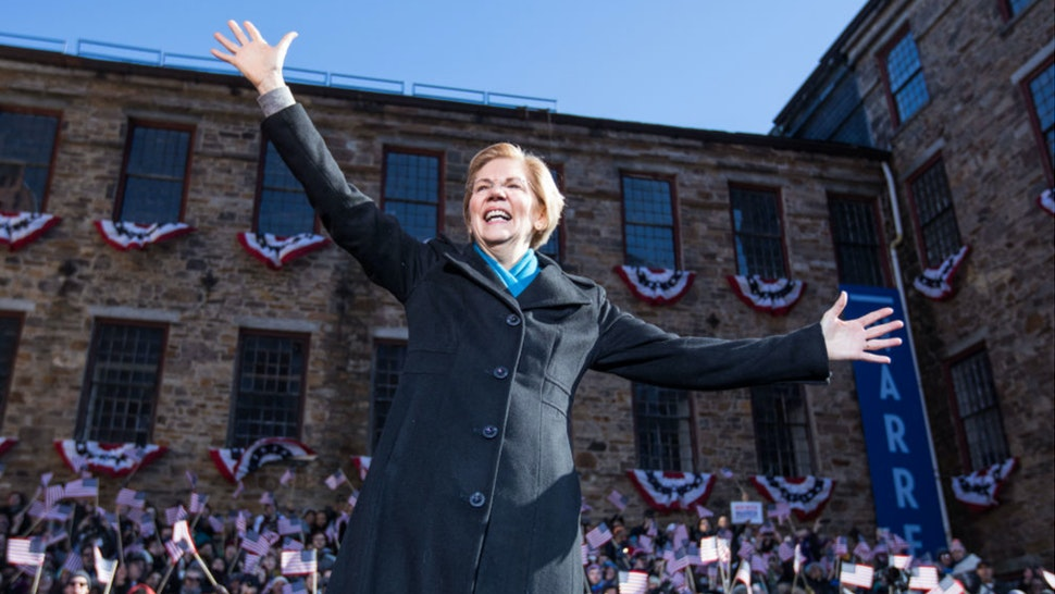 Sen. Elizabeth Warren (D-MA), announces her official bid for President on February 9, 2019 in Lawrence, Massachusetts.