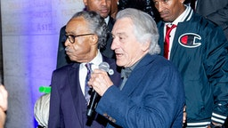 NEW YORK, NEW YORK - OCTOBER 03: Rev. Al Sharpton's with Robert De Niro on stage at Rev. Al Sharpton's 65th Birthday Celebration at New York Public Library - Stephen A Schwartzman Building on October 03, 2019 in New York City.