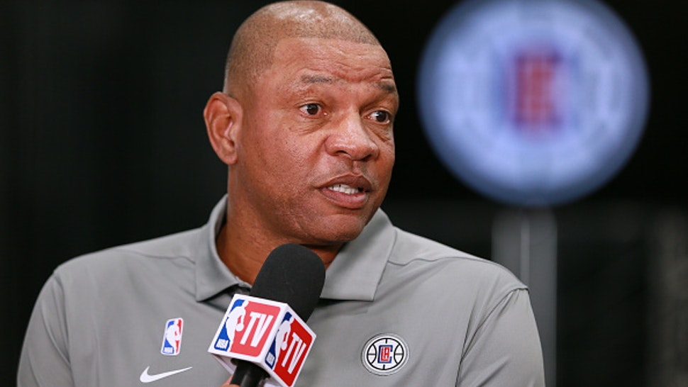 PLAYA VISTA, CALIFORNIA - SEPTEMBER 29: Doc Rivers head coach of the Los Angeles Clippers address the media during Los Angeles Clippers Media Day at Honey Training Center on September 29, 2019 in Playa Vista, California.
