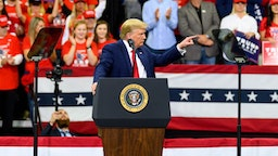U.S. President Donald Trump speaks on stage during a campaign rally at the Target Center on October 10, 2019 in Minneapolis, Minnesota. The rally follows a week of a contentious back and forth between President Trump and Minneapolis Mayor Jacob Frey. (Photo by Stephen Maturen/Getty Images)