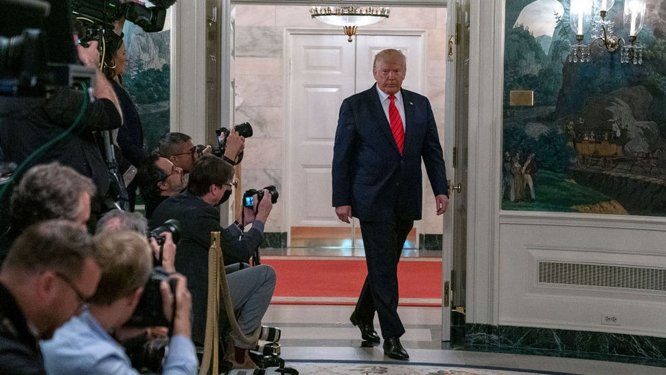 U.S. President Donald Trump enters the Diplomatic Reception Room of the White House to make a statement October 27, 2019 in Washington, DC. President Trump announced that ISIS leader Abu Bakr al-Baghdadi has been killed in a military operation in northwest Syria. (Photo by Tasos Katopodis/Getty Images)