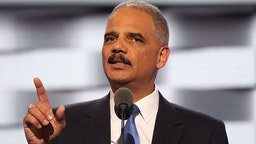 Former U.S. Attorney General Eric Holder delivers remarks at the 2016 Democratic National Convention