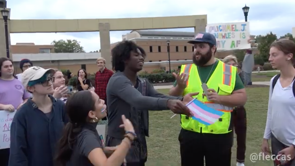A group of student activists protest Michael Knowles at Kennesaw State University.