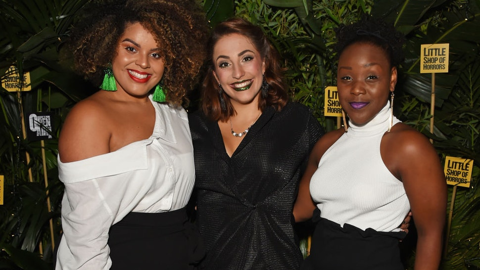 """(L to R) Cast members Renee Lamb, Christina Modestou and Seyi Omooba attend the press night after party for """"Little Shop Of Horrors"""" at Regent's Park Open Air Theatre on August 10, 2018 in London, England."""