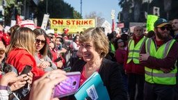 American Federation of Teachers president Randi Weingarten greets a crowd of striking teachers in Grand Park on January 22, 2019 in downtown Los Angeles, California.