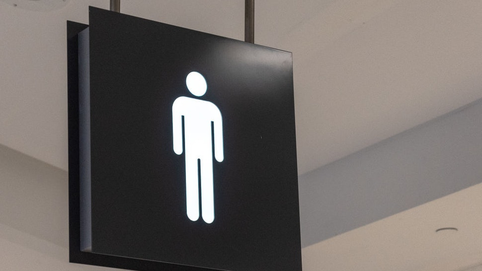 Public washroom or bathroom sign marking the facility is to be used by men.