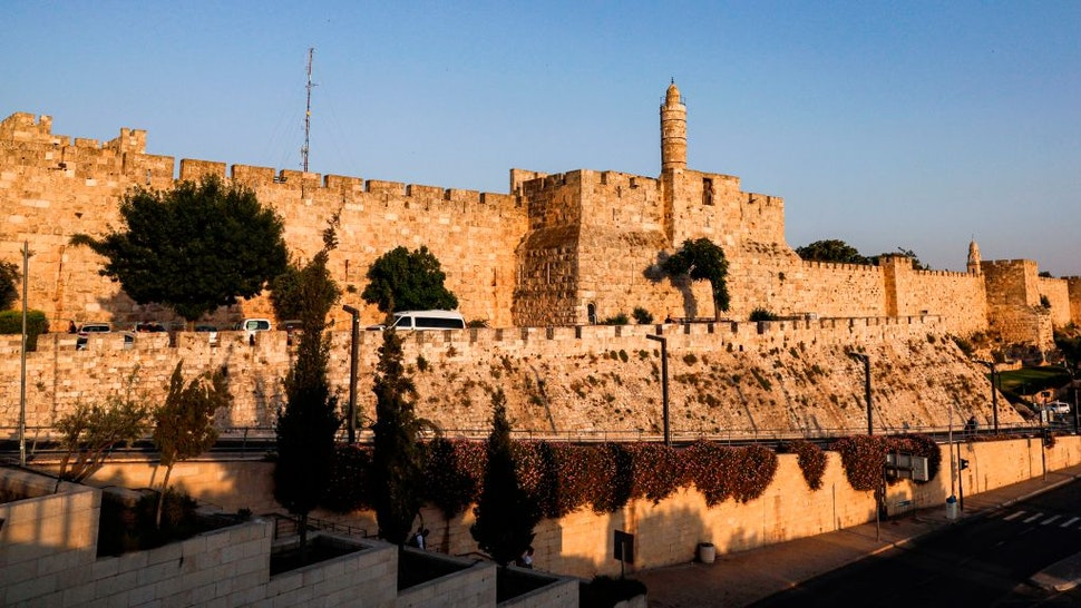 This picture taken on June 11, 2019 shows a view of the Tower of David and the Old City walls of Jerusalem.