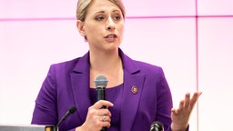 WASHINGTON, D C , UNITED STATES - 2019/06/24: U.S. Representative Katie Hill (D-CA) speaking at the Ignite Young Women Run D.C. Conference in Washington, DC.