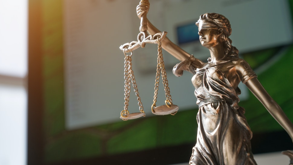 Close-Up Of Lady Justice Statue - stock photo
