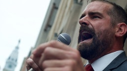 tate Representative Brian Simms (D) speaks during a rally with Bernie2020 campaign co-chair Sen. Nina Turner, hospital workers and local Democratic politicians outside Hahnemann University Hospital at a rally outside the Center City facilities in Philadelphia, PA on July 11, 2019.