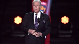 """""""Jeopardy!"""" host Alex Trebek presents the Hart Memorial Trophy during the 2019 NHL Awards at the Mandalay Bay Events Center on June 19, 2019 in Las Vegas, Nevada."""