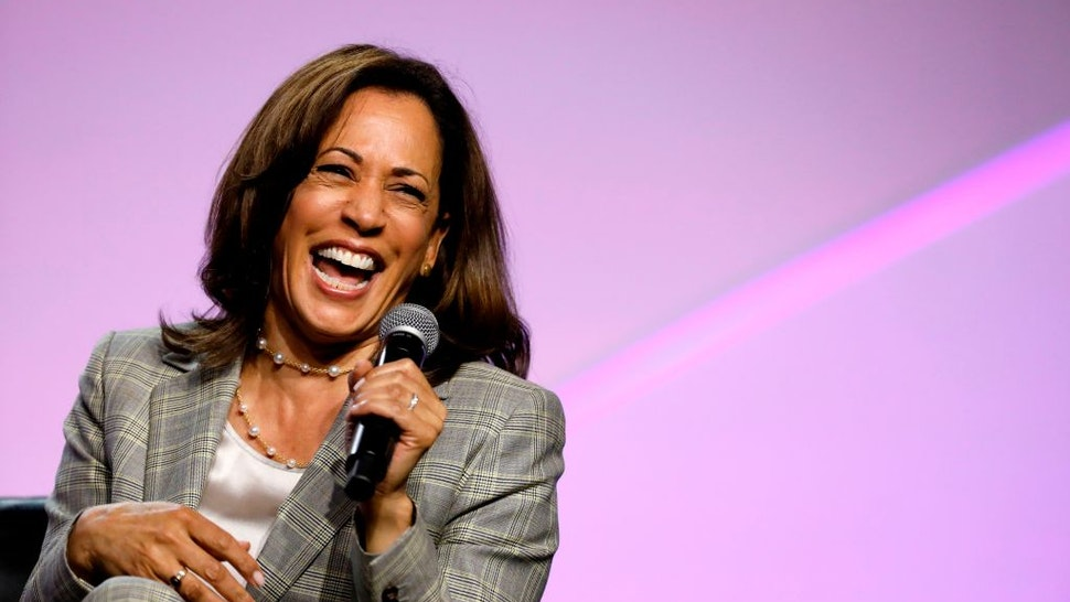 Democratic presidential hopeful Kamala Harris addresses the Presidential Forum at the NAACP's 110th National Convention at Cobo Center on July 24, 2019, in Detroit, Michigan.
