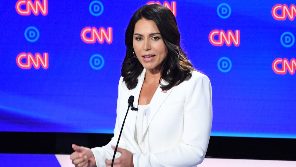 Democratic presidential hopeful US Representative for Hawaii's 2nd congressional district Tulsi Gabbard speaks during the second round of the second Democratic primary debate of the 2020 presidential campaign season hosted by CNN at the Fox Theatre in Detroit, Michigan on July 31, 2019.