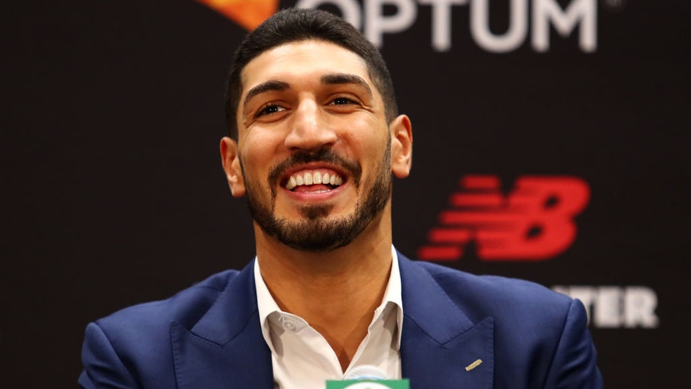 Enes Kanter reacts during a press conference as he is introduced as a member of the Boston Celtics at the Auerbach Center at New Balance World Headquarters on July 17, 2019 in Boston, Massachusetts.